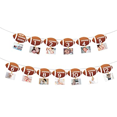 Football 1st Birthday Monthly Photo Banner Football Theme First Year Photo Banner for Newborn to 12 Months, Monthly Milestone Photograph Bunting Garland, Football First Birthday Party Decoration: Toys & Games