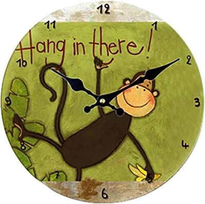 Kylin Express Vintage/Country Style Wooden Silent Round Wall Clocks Decorative Clocks,B