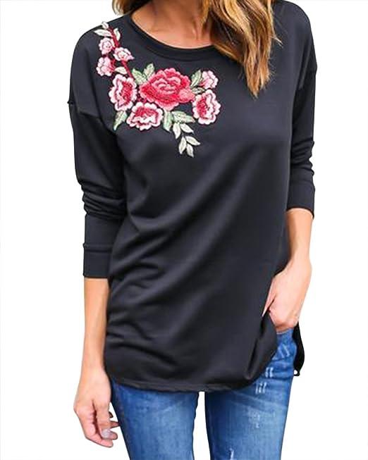 Mujeres Impresión Bordado Blusa Manga Larga Del Chaleco Camiseta Tanque Top: Amazon.es: Ropa y accesorios