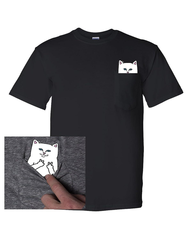 Pocket Cat Shirt Finger Peace Sign Unisex Pocket T Shirt