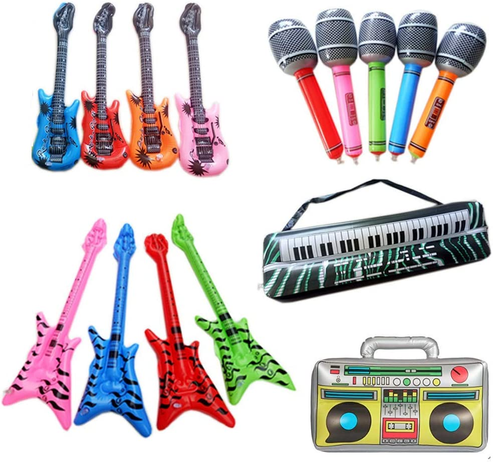 3 INFLATABLE MICROPHONES Party Favor Rock Free Shipping 3 INFLATABLE GUITARS