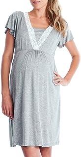 Topgrowth Vestito da Pigiama Abito per Allattamento Vestito Premaman Casual Madre Pigiama Camicia da Notte