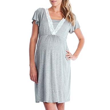 Ropa De Embarazadas Modernas YiYLinneo Vestido De Maternidad De Enfermería Camisón De Lactancia Camisón Skirt Lactancia Ropas: Amazon.es: Ropa y accesorios