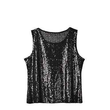 8d76487cf1216c Amazon.com: Kulywon Vest Tank Top Womens Sequins O-Neck Sexy Vest Fashion  Camisole Sleeveless T-Shirt Tops: Clothing