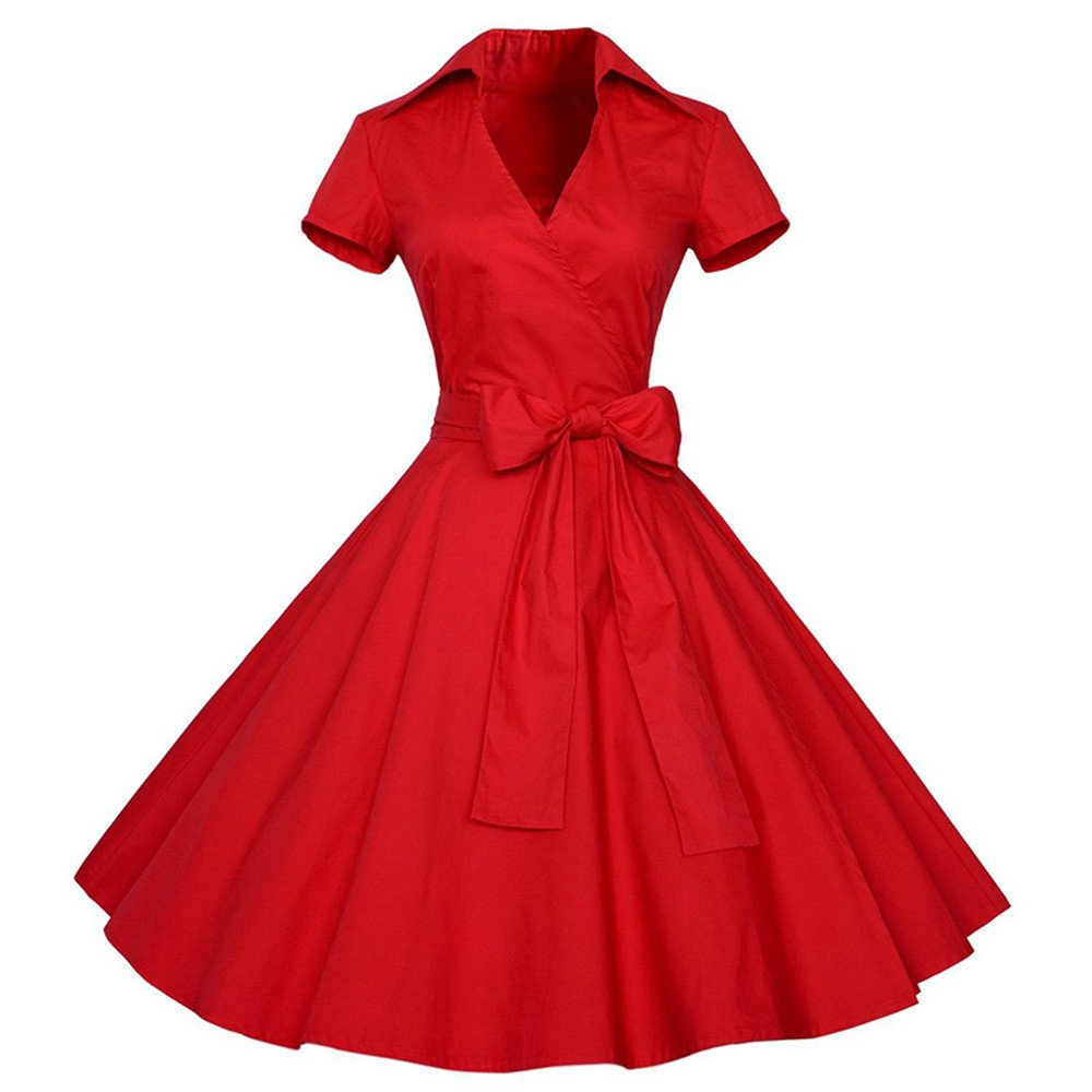 iZHH Women Fashion Vintage Dress 50S 60S Swing Pin up Retro Casual Housewife Party Dress(B-Red,L) by iZHH