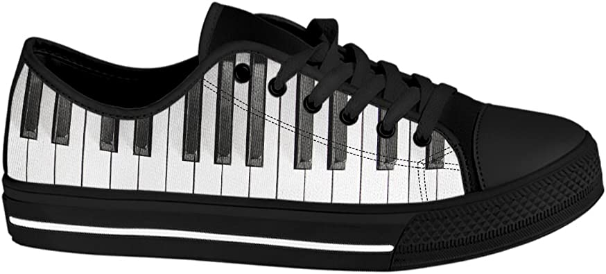 Gnarly Tees Womens Piano Keyboard Shoes Low Top