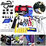 Super PDR Professional PDR Rod Set Car Auto Paintless Dent Remover Tool Hail Damage Repair Kit Dent Puller Lifter Kit Light Board Air Wedge Pump