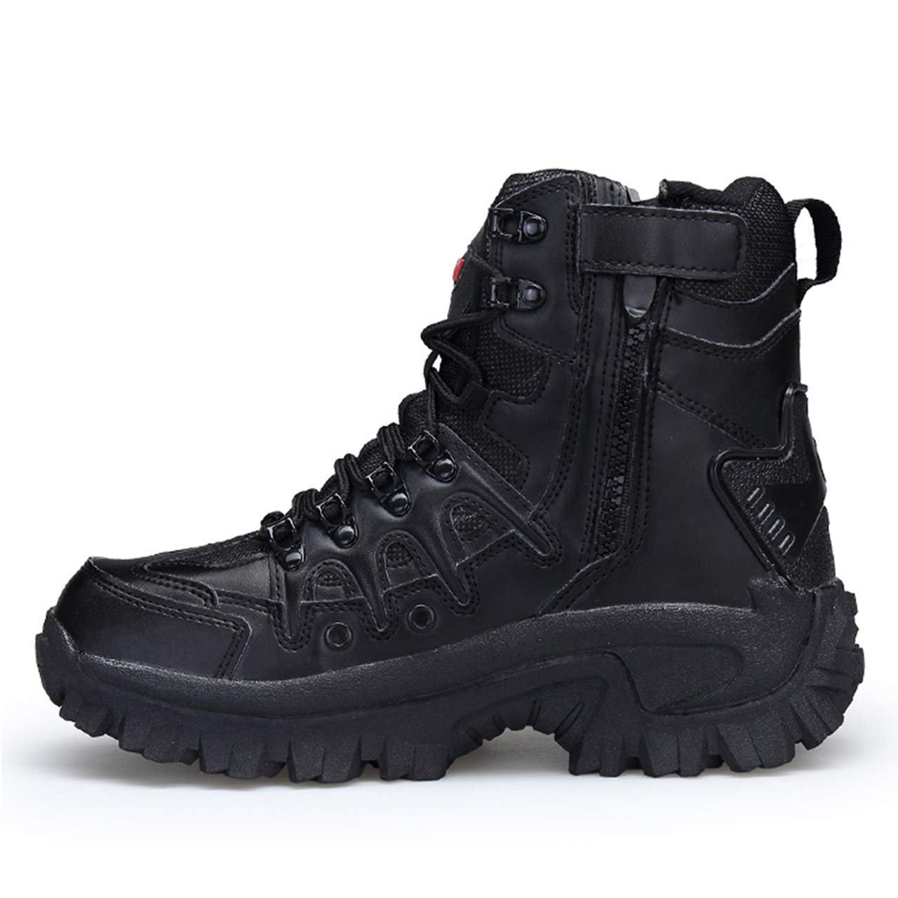 Mens Military Boots with Side Zipper High Cut Tactical Boots Savage Boots Black Desert Green Color Shoes Combat Boots Outdoor Work Boots Waterproof Anti-slip Thick Soles Breathable Abrasion Resistant