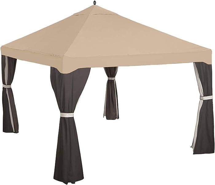 Garden Winds Replacement Canopy Top Cover for Garden Treasures 10x12 Gazebo - Riplock 350 - Beige