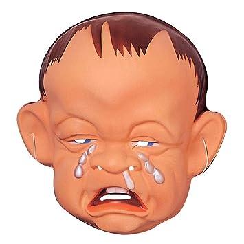 Máscara de bebé triste y llorando típica cara niño desesperado plástico careta de carnaval
