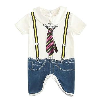 2e530ceba581 Newest Toddler Kids Baby Boy Romper Short Sleeve Cartoon Gentleman Letter  Print Bodysuit Onesie Outfit Summer