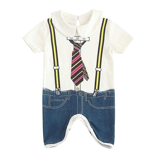 91f7c62ec8c Amazon.com  Sameno Baby Boy Fashion Jumpsuit Toddler Kids Print Cartoon  Gentleman Letter Romper Clothes Jumpsuit  Clothing