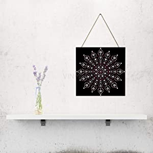"VinMea Australian Mandala Dot, Home Door, Farmhouse Wall Door, Wall Art Gift, Wall Art, Home Wood Plaque, Wooden Sign 6"" X 6"""