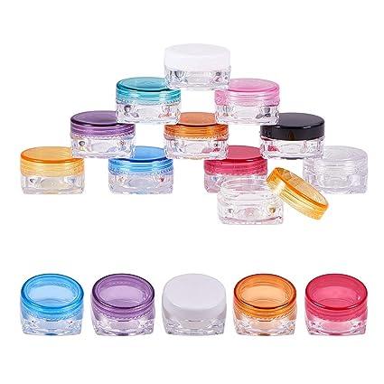 BENECREAT 60 Pack 3ml / 3g Vacía Tarro de Plástico Transparente Botella Cosmética Adecuada para Lápiz