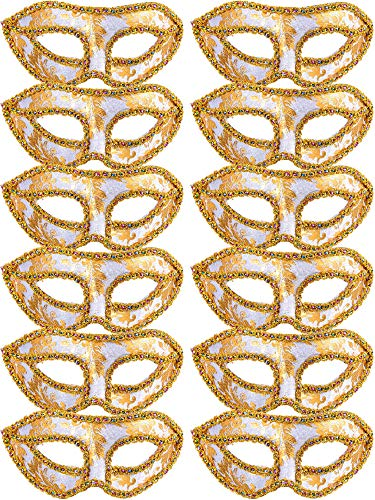 TOODOO 12 Pieces Half Mardi Gras Masquerade Mask Venetian Masks Set for Carnival Prom Ball Fancy Dress Party Supplies (Style 5)