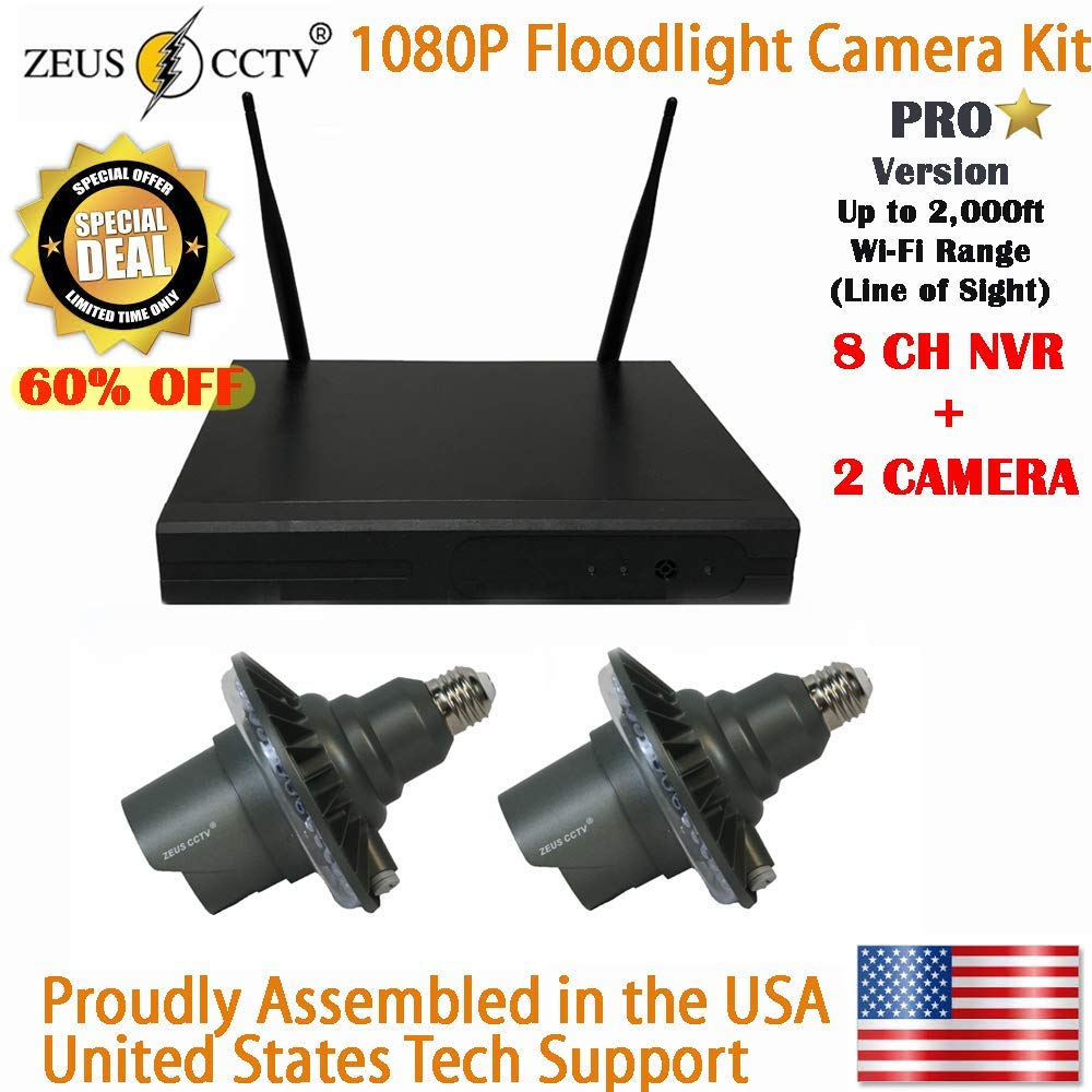 ZEUS CCTV 8 Channels standalone Pro Wi-Fi NVR System + 2 Twist in Pro floodlight Surveillance Security Cameras Complete Install Kit with Hard Drive by Zeus CCTV