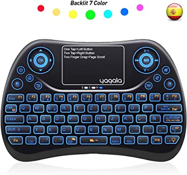 YAGALA Mini Teclado inalámbrico retroiluminado 2.4GHz con Touchpad Mouse combinato de Color 9 Cambios de Color per Android TV Box, PC, Pad, Smart TV, ...