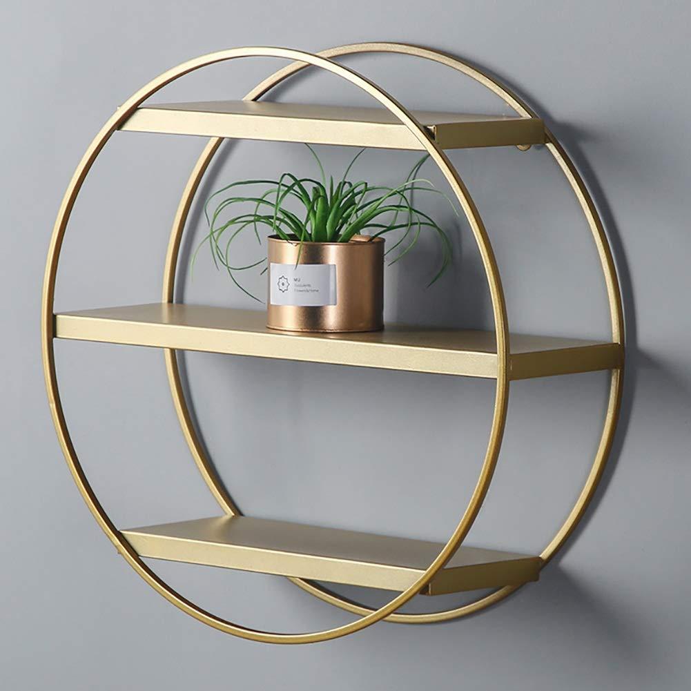 3 Stili GUOWEI Mensole da Muro Deposito Display Decorazione Organizzatori Metallo Semplice Colore : Oro, Dimensioni : 50.5x15x46cm