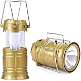 Ak Group Premsons 6 Led Solar Power Camping Lantern Rechargable Collapsible Night Light (Color May Vary)