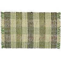 Williamsburg Sage Green Plaid Rag Rug, 2 x 3