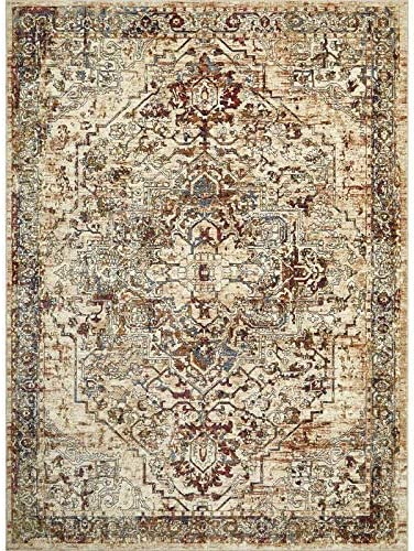 Home Dynamix Nicole Miller Belmont Sherry Area Rug 7 10 x10 , Distressed Medallion Beige Rust
