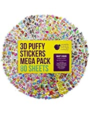80 Different Sheets Kids & Toddlers Puffy Sticker Mega Variety Pack by Purple Ladybug Novelty, 2000 3D Puffy Stickers for Kids, Including Animals, Smiley Faces, Cars, Letters, Stars and More!