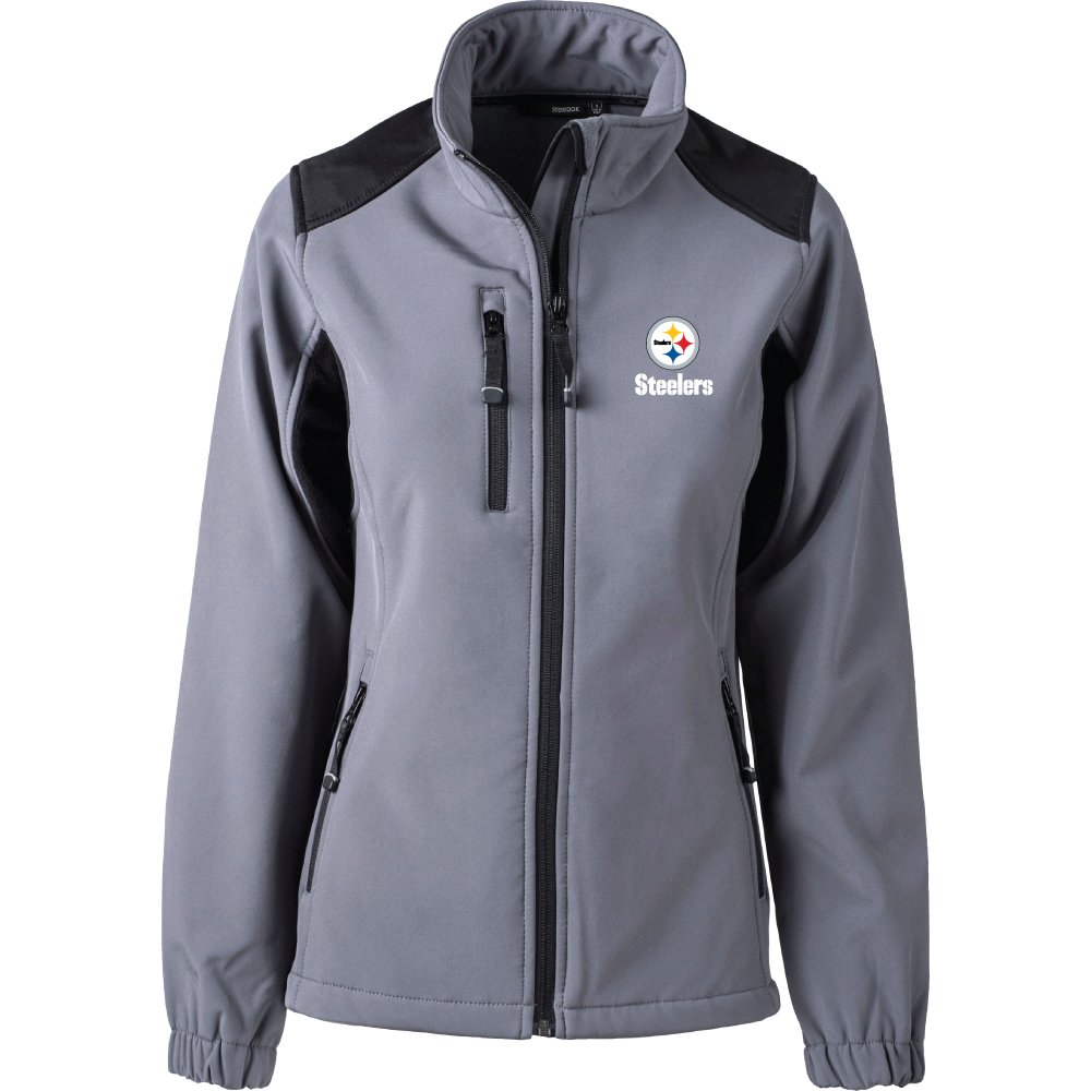 buy popular 64e01 e0d41 Dunbrooke Apparel NFL Pittsburgh Steelers Women's Softshell Jacket, Large,  Graphite