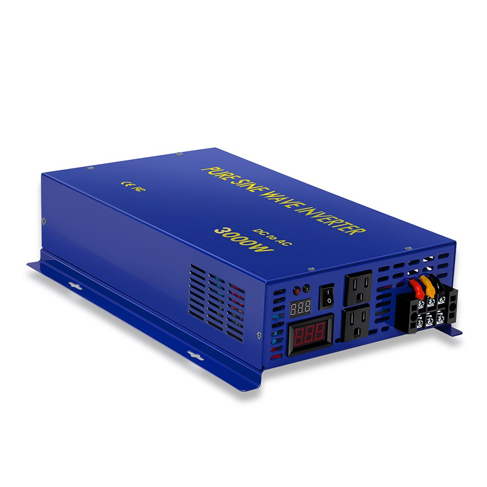 3000w Off Grid Pure Sine Wave Inverter 12v to 120v DC AC Converter Power Generator by Generic