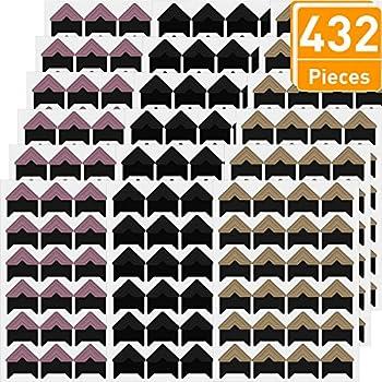 Kinstecks 18 Hojas Photo Corners 432 Piezas Autoadhesivas Photo Corner Stickers Picture Frame Corners Photo Paper Sticker for DIY Scrapbook Picture Album