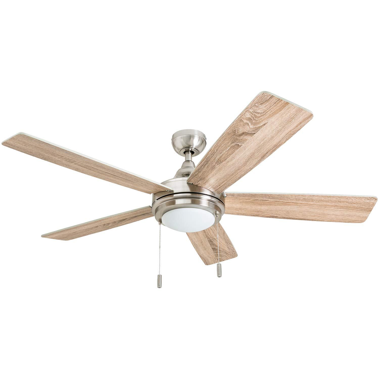Honeywell 50606-01 Ventnor Farmhouse Ceiling Fan, 52'' Rustic Barnwood Decor, ETL Indoor, Brushed Nickel