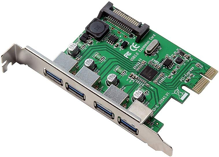 Docooler PCI-E to Four USB3.0 Ports Expansion Card Interface PCI Express Adapter Card 15PIN for Desktop PC