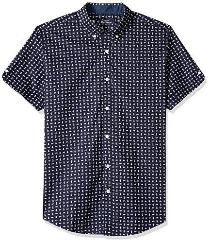 Ben Sherman Men's SS Seashell Print Shirt, Navy, M