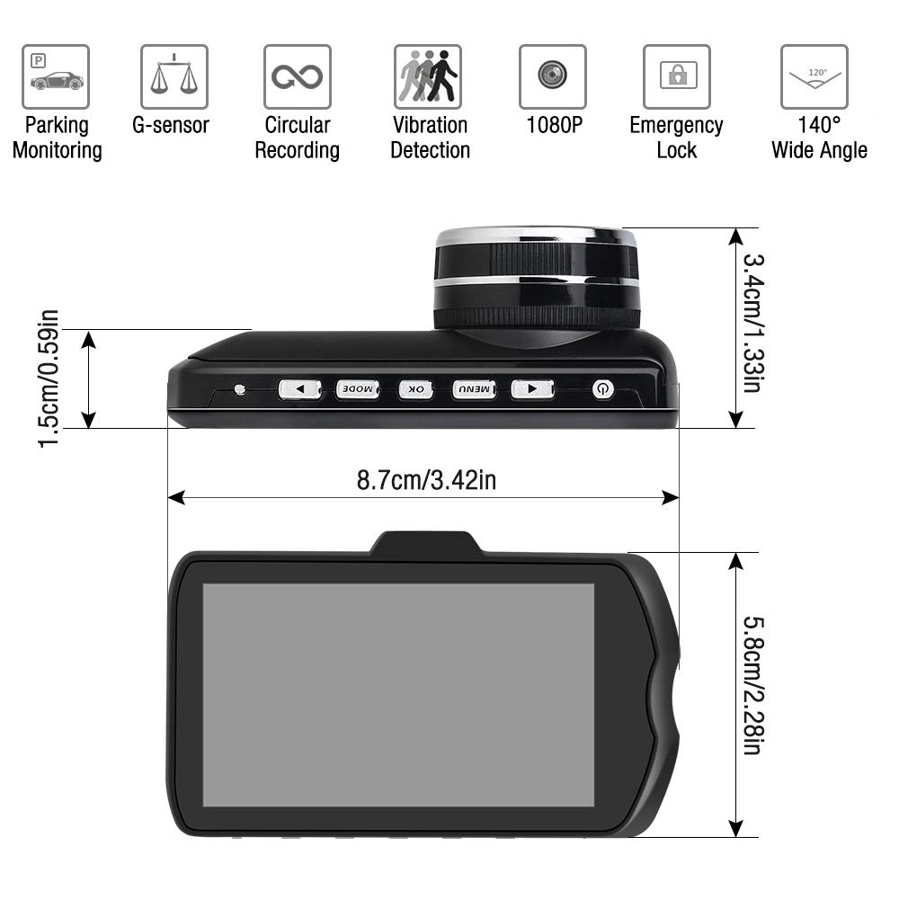 Mopoin Dashcam Front Lens Fahr Recorder 3-Zoll-IPS 1080P Ultra HD 170/° Weitwinkel Auto Kamera G-Sensor WDR Loop-Aufnahme DVR Parkmonitor Nachtsicht