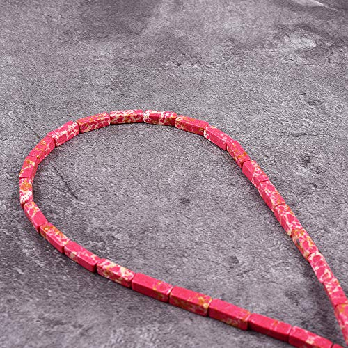 (Asingeloo 30PCS 4X13mm Natural Red Sea Sediment Imperial Jasper Gemstone Loose Beads Tube Energy Stone Healing Power for Jewelry Making 15.5