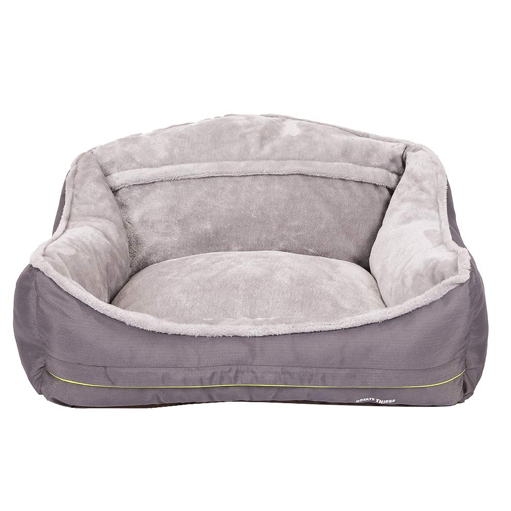 SZGS Cat nest pet Bed-High Back Waterproof Inlay nest Warm Bed Sofa nest Autumn and Winter nest Gray Polyester Material Comfortable and Non-Detachable, As a gift-S-605037cm by SZGS