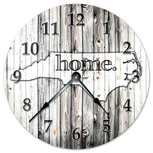 NORTH CAROLINA STATE HOME CLOCK Black and White Rustic Clock - Large 10.5