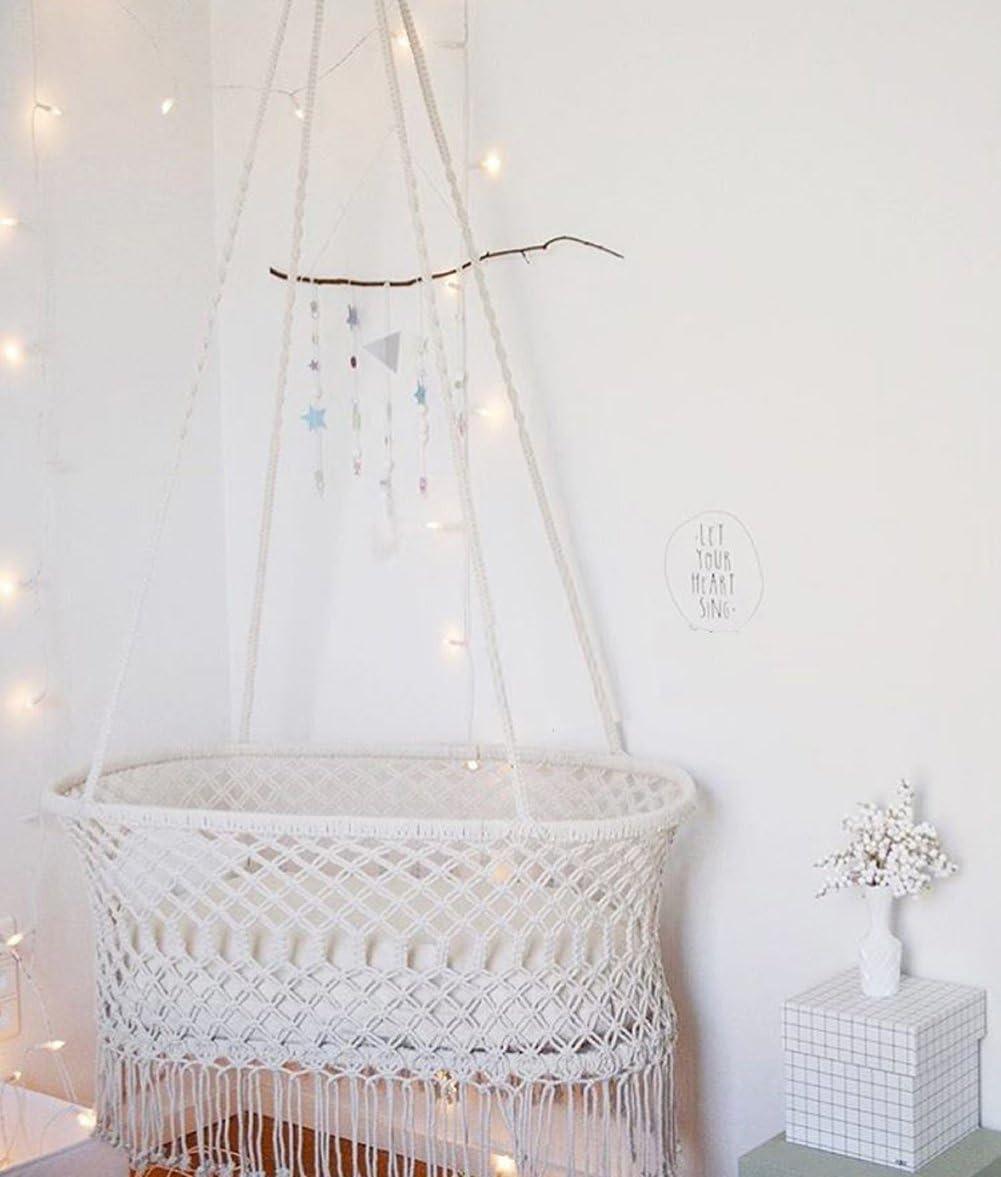 "Macrame Cradle Hanging Hammock for Baby Girl//Boy Pure Cotton Knit Baby Crib 90x55x34 cm//35/""x21.6/""x13.4/"""