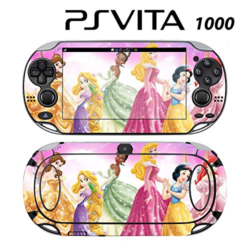 Decorative Video Game Skin Decal Cover Sticker for Sony PlayStation PS Vita (PCH-1000) - Princess Friends Sparkle Belle Rapunzel Tiana -  Decals Plus