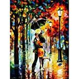 Kisstaker 3D Diamond Sticker Rhinestone Cross Stitch Painting Kit Rain Lovers 32x40cm(12.5x16.5'')
