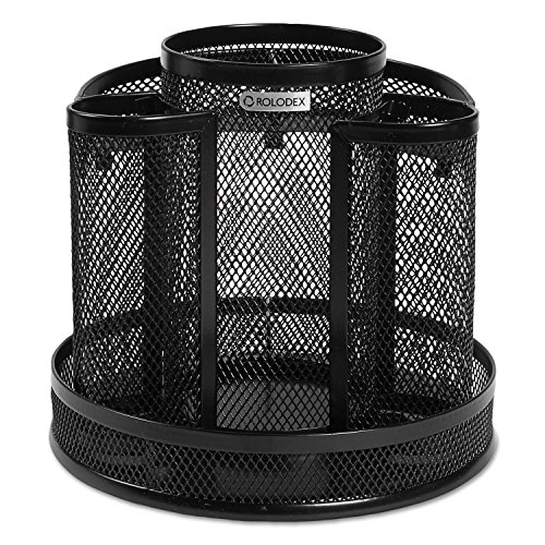 Rolodex 1773083 Wire Mesh Spinning Desk Sorter Black