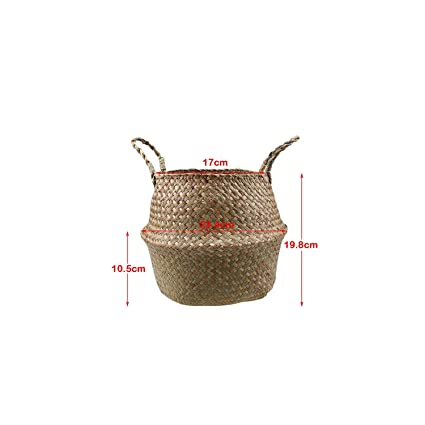 Handmade Storage Basket Foldable Seagrass Straw Hanging Woven Garden Plant Pot