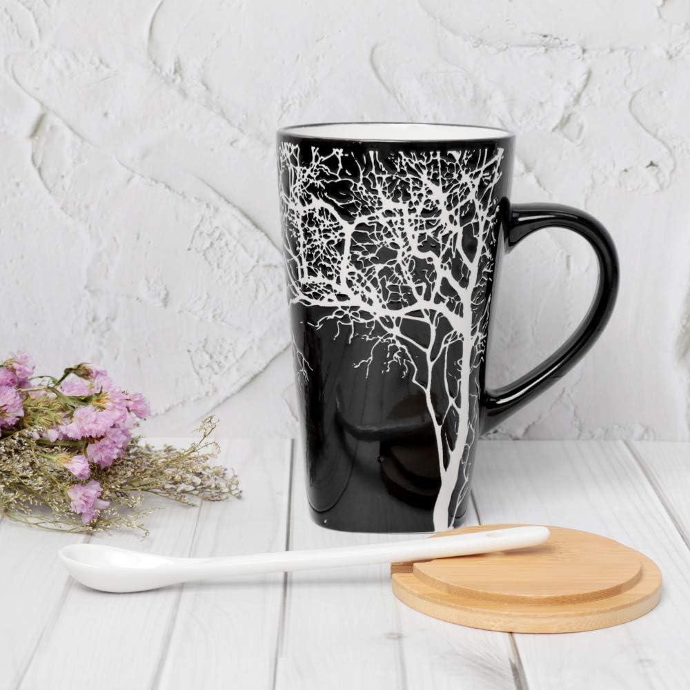 MUXUE Keramik Kaffeetasse 500ml Gro/ßer Keramik-milchbecher mit Henkel Kreative Home /& Office Geschenke f/ür Freunden und Familien Elegante Teetassen mit Deckel und L/öffel