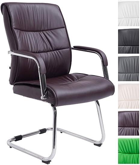 CLP Chaise de Réception Sieviert Similicuir avec Accoudoirs Fauteuil Cantilever Rembourré et Design Chaise de Salle d'Attente avec Pied en Métal