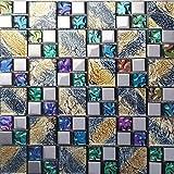 Hominter 11-Sheets Multicolor Tile Backsplash, Coated Glass Mosaic Bathroom Tile, Clear Multi Colored Crystal for Kitchen and Shower Walls D1391