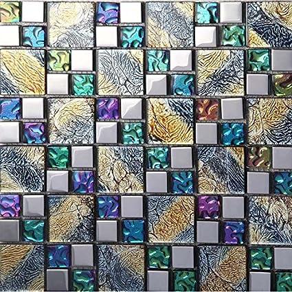 Magnificent Hominter 11 Sheets Multicolor Tile Backsplash Coated Glass Download Free Architecture Designs Scobabritishbridgeorg