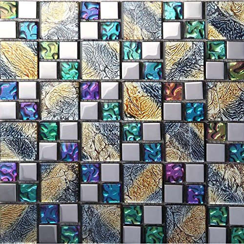 Hominter 11-Sheets Multicolor Tile Backsplash, Coated Glass Mosaic Bathroom Tile, Clear Multi Colored Crystal for Kitchen and Shower Walls D1391