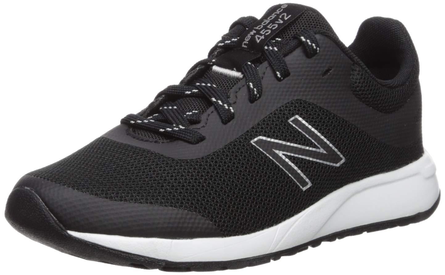 New Balance Boys' 455v2 Running Shoe, BLACK/WHITE, 1 W US Little Kid