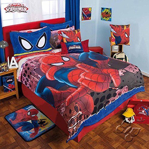 durable modeling NEW PRETTY COLLECTION ULTIMATE SPIDER MAN MARVEL ORIGINAL LICENSE KIDS BOYS COMFORTER SET WITH SHERPA AND SHEET SET 6 PCS TWIN SIZE