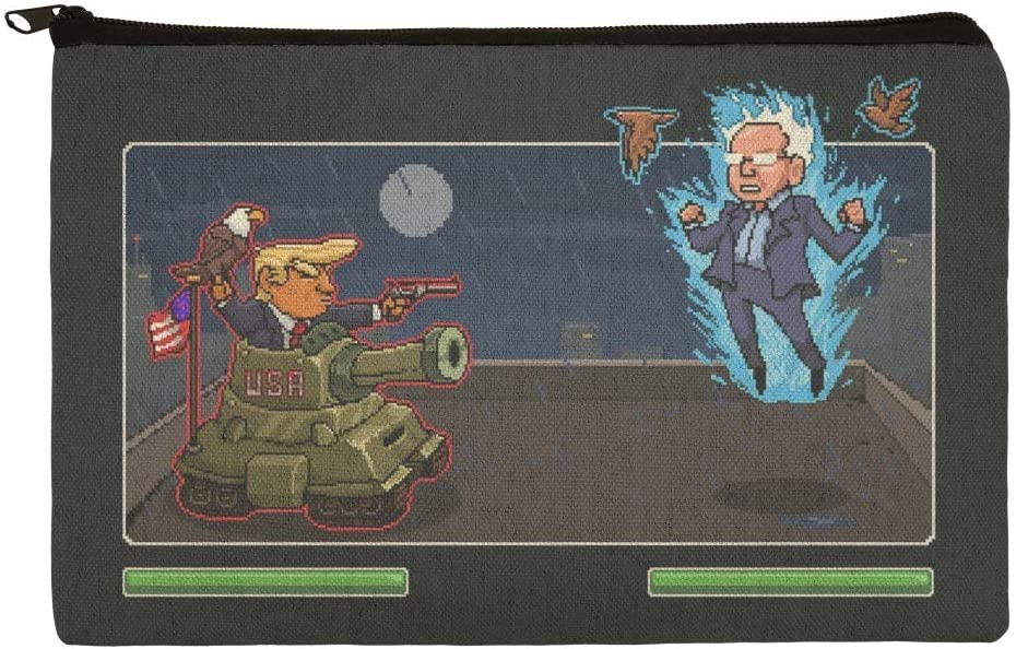 GRAPHICS /& MORE Pixel Donald Trump Versus Bernie Sanders Fighting Game 1 Pendant with Sterling Silver Plated Chain