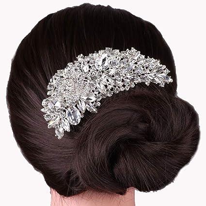 ShungFun - Peine de pelo para mujer, con perlas brillantes, pinzas para el pelo